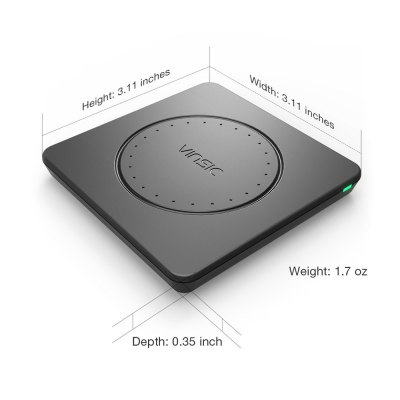 VINSIC VSCW109 Portable Qi Wireless Charger for Qi Enabled Devices