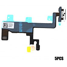 5Pcs On / OFF Power Volume Button Mute Control Mic Flash Metal Plate Flex Cable Replacements for iPhone 6