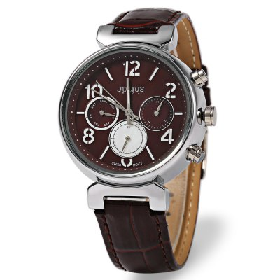JULIUS JA - 850 Women Quartz WatchWomens Watches<br>JULIUS JA - 850 Women Quartz Watch<br><br>Band Length: 7.48<br>Band Length Unit: inch<br>Band Material Type: Leather<br>Band Width: 18mm<br>Case material: Stainless Steel<br>Case Shape: Round<br>Case Thickness: 10mm<br>Clasp type: Pin Clasp<br>Dial Diameter: 1.38<br>Dial Diameter Unit: inch<br>Dial Display: Analog<br>Dial Material Type: Stainless Steel<br>Dial Window Material Type: Glass<br>Feature: Complete Calendar,Luminous<br>Gender: Women<br>Movement: Quartz<br>Style: Fashion &amp; Casual<br>Product weight: 0.047 kg<br>Package weight: 0.157 kg<br>Product Size(L x W x H): 24.50 x 4.00 x 1.00 cm / 9.65 x 1.57 x 0.39 inches<br>Package Size(L x W x H): 9.70 x 9.70 x 8.00 cm / 3.82 x 3.82 x 3.15 inches<br>Package Contents: 1 x JULIUS JA - 850 Women Quartz Watch