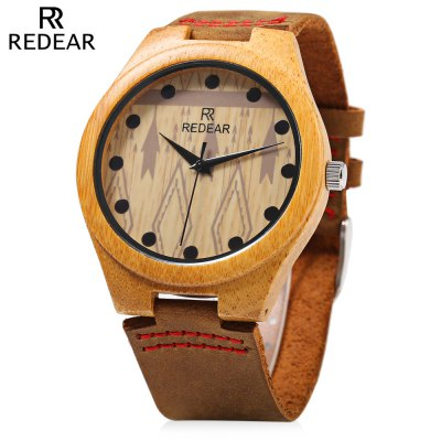 REDEAR SJ 1448 - 5 Wooden Male Quartz Watch