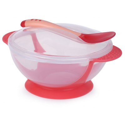2pcs Bright Color Babies Bowl with Suction Cup Assist Transparent Cover Temperature Sensing Spoon