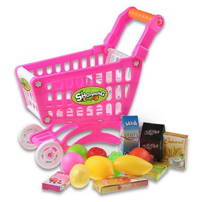 Kids Mini Shopping Cart with Full Grocery Food Toy