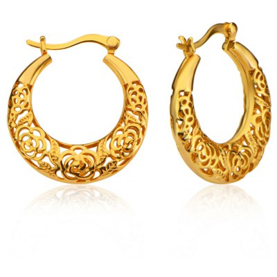 Women Hollow Out Rose 18k Gold Plated Hoop Earrings