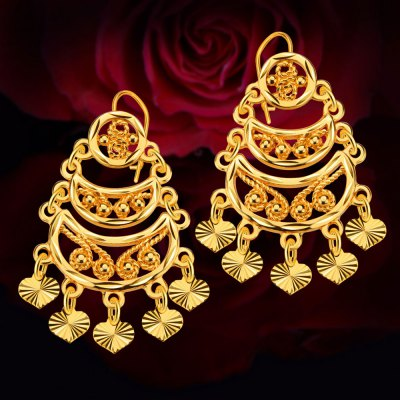 Women Heart Moon Bead Copper Coin Hollow Out 18k Gold Plated Drop Earrings