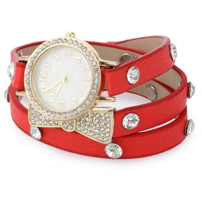 Women Artificial Diamond Wrap Bracelet Leather Band Quartz Watch