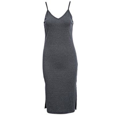 Simple Plunging Neck Suspender Sheath Solid Color Knit Side Slit Mid- calf Women Bodycon Dress