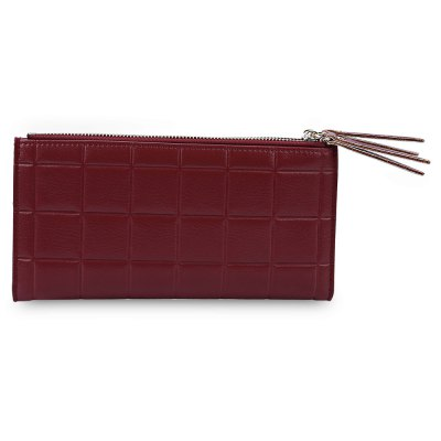 Lady Double Zipper Plaid Design Two Fold Horizontal Wallet