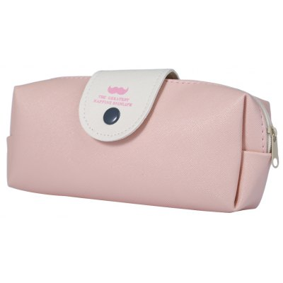 Candy Color PU Leather Pencil Case Bag