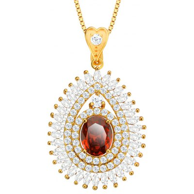 Water Drop Pendant Zirconia Embellished 18k Gold Plated Necklace