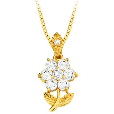Flower Pendant Zirconia Crystal Embellished 18k Gold Plated Necklace
