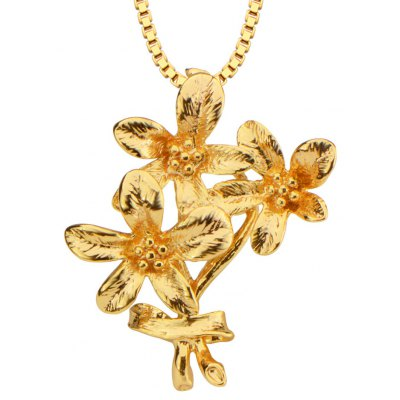 Flowers Shape Pendant 18k Gold Plated Necklace