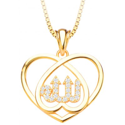 Heart Shape Pendant Crystal Embellished 18k Gold Plated Necklace