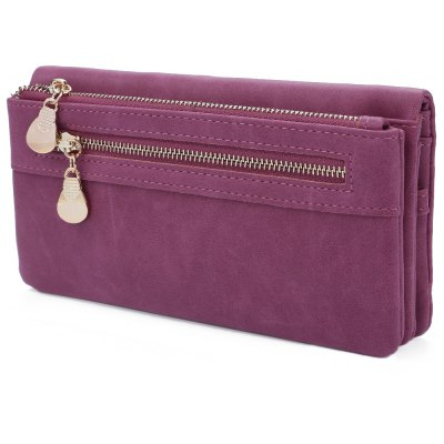 Guapabien Lady Solid Color Pattern Zipper Design Dull Polish Horizontal Clutch Waist Wallet