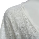 Casual Cardigan Short Sleeve Front Lace-up Lace Patchwork Hollow Out Perspective Loose Women Blouse photo