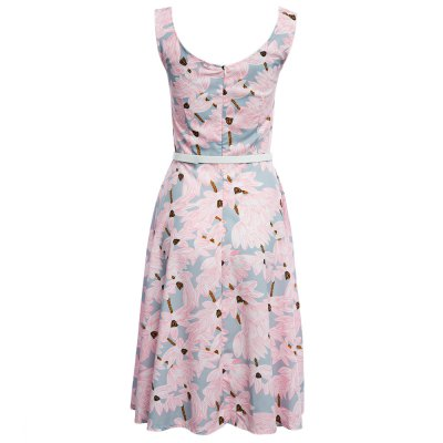 Sweet Round Collar Floral Print A-Line Women Party Dress with Belt