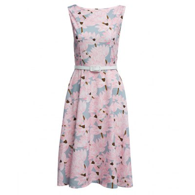 Round Collar Floral Print A-Line Women Party Dress with Belt
