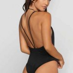 cheap Sexy Halter Plunging Neck Backless Hollow Out Pure Color Women Swimwear