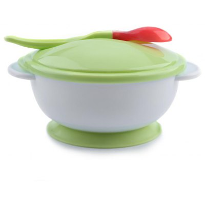 PP Material Babies Tableware Suction Bowl with Lid Scoop