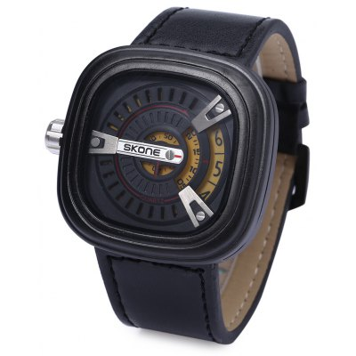 SKONE 9421G Men Leather Band Quartz Wrist Watch