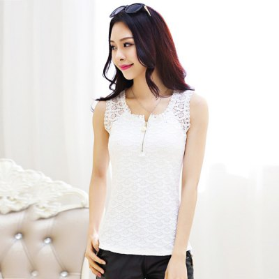 Sweet U-Neck Lace Solid Color Women Tank Top