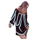 cheap Old Classical Style Off The Shoulder Half Sleeve Printed Women Mini Dress