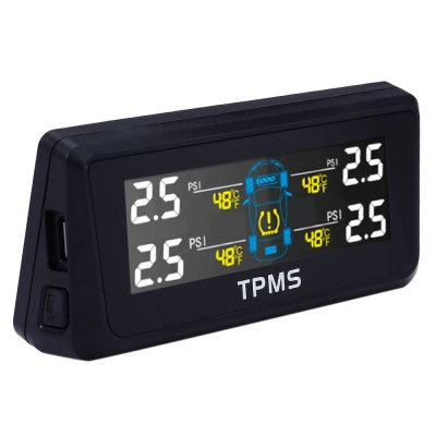 TPMS - 02N TPMS Solar Power Tire Pressure Monitoring SystemOther Car Gadgets<br>TPMS - 02N TPMS Solar Power Tire Pressure Monitoring System<br><br>Type (Fire Safety): TPMS digital tire pressure monitoring system<br>Colors: Black<br>Product weight: 0.170 kg<br>Package weight: 0.490 kg<br>Product Size(L x W x H): 7.50 x 6.00 x 2.00 cm / 2.95 x 2.36 x 0.79 inches<br>Package Size(L x W x H): 26.00 x 14.50 x 5.50 cm / 10.24 x 5.71 x 2.17 inches<br>Package Contents: 1 x Display, 4 x Sensor, 2 x 3M Adhesive, 1 x English User Manual