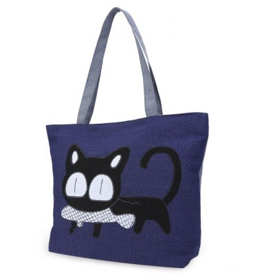 Guapabien Women Cat Fish Cartoon Zipper Canvas Tote Bag