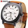 CURREN 8139 Unisex Quartz Watch Time Showed by Number and Trapezoids Leather Watchband deal