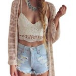 Sweet Plunging Neck Suspender Lace Patchwork Hollow Out Bandage Cross Liner Sheath Women Crop Top