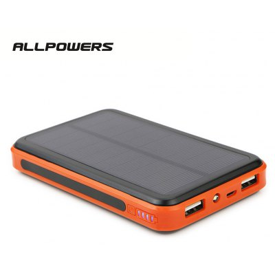 ALLPOWERS 10000mAh LED Torch Sunpower Silicon Solar Panel Power Bank