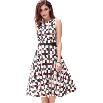 Round Collar Sleeveless Plaid Print Ball Gown Patchwork with Belt Knee-length Women Dress