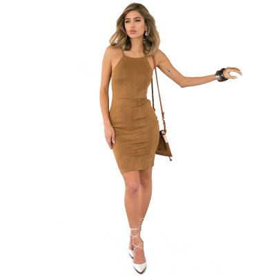 Sexy Round Collar Suspender Back Bandage Lace-up Sheath Solid Color Women Mini Dress