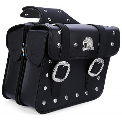 Paired Motorcycle PU Leather Saddlebag Tool Bag Panniers