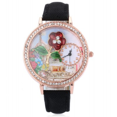 Women 3D Flower Themed Quartz Watch