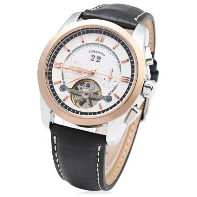 Forsining F120571 Men Tourbillon Automatic Mechanical Watch Rubber Strap Date Week Month Display