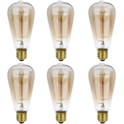 Lightme 6pcs ST64 230V 40W E27 110 - 120LM 19AK Retro Tungsten Light Bulb