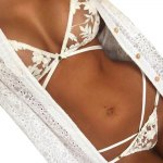 Sexy Halter Lace-up Gauze Patchwork Jacquard Bowknot Bra + Low Elastic Waist Briefs Perspective Pure Color Women Bikini Set