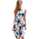Buy Vintage Round Collar Sleeveless Floral Print Patchwork Ball Gown Slim Knee-length Belt Women Dress XL BLUE