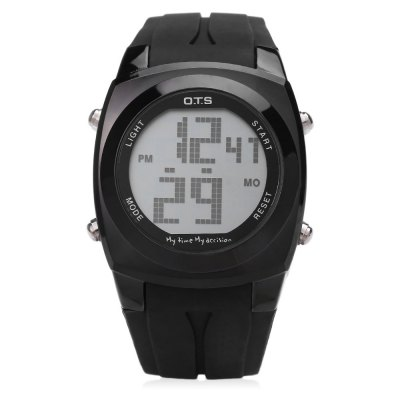 OTS 6335G Men LED Digital WatchMens Watches<br>OTS 6335G Men LED Digital Watch<br><br>Band Length: 8.39<br>Band Length Unit: inch<br>Band Material Type: Rubber<br>Band Width: 22mm<br>Case material: Alloy<br>Case Shape: Round<br>Clasp type: Pin Buckle<br>Dial Diameter: 1.18<br>Dial Diameter Unit: inch<br>Dial Display: Digital<br>Dial Window Material Type: Hardlex<br>Feature: Alarm,Date,Day,Led Display,Luminous<br>Gender: Men<br>Movement: Digital<br>Style: Business,Simple,Sport<br>Water Resistance Depth: 10m<br>Product weight: 0.079 kg<br>Package weight: 0.100 kg<br>Product Size(L x W x H): 25.40 x 3.80 x 1.30 cm / 10 x 1.5 x 0.51 inches<br>Package Size(L x W x H): 26.40 x 4.80 x 2.30 cm / 10.39 x 1.89 x 0.91 inches<br>Package Contents: 1 x OTS 6335G Men LED Digital Watch
