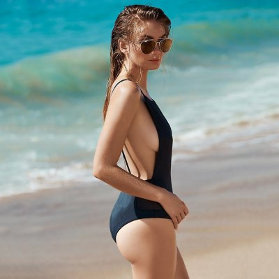 Sexy Round Collar Backless Gauze Patchwork High Waist Pure Color Women Swimwear