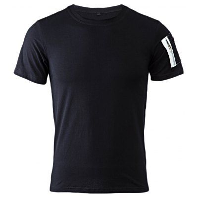 Chic Round Collar Short Sleeve Pocket Design Men Cotton Blend T-Shirt