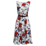 Buy Vintage Round Collar Sleeveless Floral Print Patchwork Ball Gown Slim Knee-length Belt Women Dress XL RED