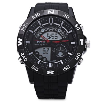 OTS 8070G Dual Movt Men Analog LED Digital Quartz WatchMens Watches<br>OTS 8070G Dual Movt Men Analog LED Digital Quartz Watch<br><br>Band Length: 8.07<br>Band Length Unit: inch<br>Band Material Type: Rubber<br>Band Width: 20mm<br>Case material: Rubber<br>Case Shape: Round<br>Clasp type: Pin Buckle<br>Dial Diameter: 1.5<br>Dial Diameter Unit: inch<br>Dial Display: Analog-Digital<br>Dial Window Material Type: Hardlex<br>Feature: Alarm,Back Light,Chronograph,Date,Day,Led Display,Luminous<br>Gender: Men<br>Movement: Digital,Quartz<br>Style: Simple,Sport<br>Water Resistance Depth: 50m<br>Product weight: 0.070 kg<br>Package weight: 0.091 kg<br>Product Size(L x W x H): 25.00 x 5.00 x 1.30 cm / 9.84 x 1.97 x 0.51 inches<br>Package Size(L x W x H): 26.00 x 6.00 x 2.30 cm / 10.24 x 2.36 x 0.91 inches<br>Package Contents: 1 x OTS 8070G Men Dual Movt Quartz Watch