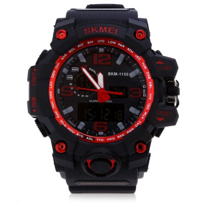 SKMEI 1155 Men LED Digital Quartz WatchMens Watches<br>SKMEI 1155 Men LED Digital Quartz Watch<br><br>Band Length: 8.27<br>Band Length Unit: inch<br>Band Material Type: PU<br>Band Width: 25mm<br>Case material: PC<br>Case Shape: Round<br>Clasp type: Pin buckle<br>Dial Diameter: 1.77<br>Dial Diameter Unit: inch<br>Dial Display: Analog-Digital<br>Dial Window Material Type: Glass<br>Feature: Alarm,Day,Led Display<br>Gender: Men<br>Movement: Digital,Quartz<br>Style: Simple<br>Water Resistance Depth: 50m<br>Product weight: 0.075 kg<br>Package weight: 0.096 kg<br>Product Size(L x W x H): 25.00 x 5.50 x 1.50 cm / 9.84 x 2.17 x 0.59 inches<br>Package Size(L x W x H): 26.00 x 6.50 x 2.50 cm / 10.24 x 2.56 x 0.98 inches<br>Package Contents: 1 x SKMEI 1155 Men LED Digital Quartz Watch
