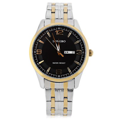 LONGBO 80145G Men Quartz WatchMens Watches<br>LONGBO 80145G Men Quartz Watch<br><br>Band Length: 8.27<br>Band Length Unit: inch<br>Band Material Type: Stainless Steel<br>Band Width: 18mm<br>Case material: Alloy<br>Case Shape: Round<br>Clasp type: Folding Clasp with Safety<br>Dial Diameter: 1.57<br>Dial Diameter Unit: inch<br>Dial Display: Analog<br>Dial Window Material Type: Mineral Glass Mirror<br>Feature: Date,Day,Luminous<br>Gender: Men<br>Movement: Quartz<br>Style: Business<br>Water Resistance Depth: 30m<br>Product weight: 0.100 kg<br>Package weight: 0.126 kg<br>Product Size(L x W x H): 21.00 x 4.20 x 1.00 cm / 8.27 x 1.65 x 0.39 inches<br>Package Size(L x W x H): 11.50 x 5.20 x 2.00 cm / 4.53 x 2.05 x 0.79 inches<br>Package Contents: 1 x LONGBO 80145G Men Quartz Watch