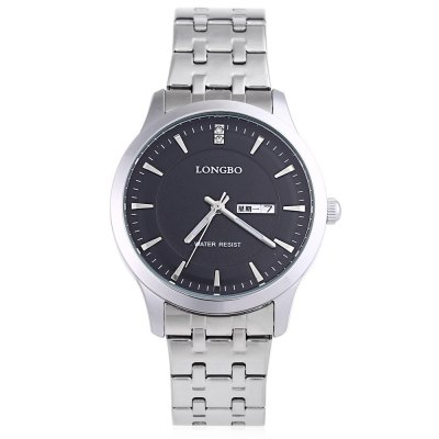 LONGBO 80169G Men Quartz WatchMens Watches<br>LONGBO 80169G Men Quartz Watch<br><br>Band Length: 8.66<br>Band Length Unit: inch<br>Band Material Type: Stainless Steel<br>Band Width: 18mm<br>Case material: Alloy<br>Case Shape: Round<br>Clasp type: Folding Clasp with Safety<br>Dial Diameter: 1.57<br>Dial Diameter Unit: inch<br>Dial Display: Analog<br>Dial Window Material Type: Mineral Glass Mirror<br>Feature: Date,Day,Luminous<br>Gender: Men<br>Movement: Quartz<br>Style: Business<br>Water Resistance Depth: 30m<br>Product weight: 0.094 kg<br>Package weight: 0.121 kg<br>Product Size(L x W x H): 22.00 x 4.20 x 0.60 cm / 8.66 x 1.65 x 0.24 inches<br>Package Size(L x W x H): 12.00 x 5.20 x 1.60 cm / 4.72 x 2.05 x 0.63 inches<br>Package Contents: 1 x LONGBO 80169G Men Quartz Watch