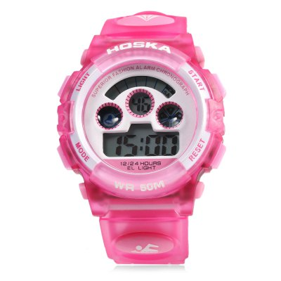 HOSKA H001B Children LED Digital WatchKids Watches<br>HOSKA H001B Children LED Digital Watch<br><br>Band Length: 8.07<br>Band Length Unit: inch<br>Band Material Type: Silicone<br>Band Width: 20mm<br>Case material: Plastic<br>Case Shape: Round<br>Clasp type: Pin Buckle<br>Dial Diameter: 1.3<br>Dial Diameter Unit: inch<br>Dial Display: Digital<br>Dial Window Material Type: Glass<br>Feature: Auto Date,Chronograph,Led Display,Luminous<br>Gender: Children<br>Movement: Digital<br>Style: Simple,Sport<br>Water Resistance Depth: 50m<br>Product weight: 0.047 kg<br>Package weight: 0.068 kg<br>Product Size(L x W x H): 25.30 x 4.20 x 1.70 cm / 9.96 x 1.65 x 0.67 inches<br>Package Size(L x W x H): 26.30 x 5.20 x 2.70 cm / 10.35 x 2.05 x 1.06 inches<br>Package Contents: 1 x HOSKA H001B LED Children Watch