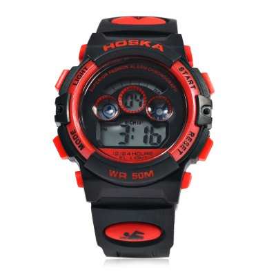 HOSKA H001S Children LED Digital WatchKids Watches<br>HOSKA H001S Children LED Digital Watch<br><br>Band Length: 7.68<br>Band Length Unit: inch<br>Band Material Type: Silicone<br>Band Width: 18mm<br>Case material: Plastic<br>Case Shape: Round<br>Clasp type: Pin Buckle<br>Dial Diameter: 1.18<br>Dial Diameter Unit: inch<br>Dial Display: Digital<br>Dial Window Material Type: Glass<br>Feature: Alarm,Led Display,Luminous<br>Gender: Children<br>Movement: Digital<br>Style: Simple,Sport<br>Water Resistance Depth: 50m<br>Product weight: 0.035 kg<br>Package weight: 0.056 kg<br>Product Size(L x W x H): 23.40 x 3.70 x 1.30 cm / 9.21 x 1.46 x 0.51 inches<br>Package Size(L x W x H): 24.40 x 4.70 x 2.30 cm / 9.61 x 1.85 x 0.91 inches<br>Package Contents: 1 x HOSKA H001S LED Children Watch