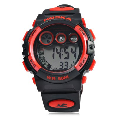 HOSKA H002B Children LED Digital WatchKids Watches<br>HOSKA H002B Children LED Digital Watch<br><br>Band Length: 7.91<br>Band Length Unit: inch<br>Band Material Type: Silicone<br>Band Width: 18mm<br>Case material: Plastic<br>Case Shape: Round<br>Clasp type: Pin Buckle<br>Dial Diameter: 1.30<br>Dial Diameter Unit: inch<br>Dial Display: Digital<br>Dial Window Material Type: Glass<br>Feature: Alarm,Led Display,Luminous<br>Gender: Children<br>Movement: Digital<br>Style: Simple,Sport<br>Water Resistance Depth: 50m<br>Product weight: 0.046 kg<br>Package weight: 0.067 kg<br>Product Size(L x W x H): 25.50 x 4.30 x 1.60 cm / 10.04 x 1.69 x 0.63 inches<br>Package Size(L x W x H): 26.50 x 5.30 x 2.60 cm / 10.43 x 2.09 x 1.02 inches<br>Package Contents: 1 x HOSKA H002B LED Children Watch