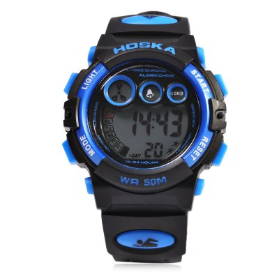 HOSKA H002S Children LED Digital WatchKids Watches<br>HOSKA H002S Children LED Digital Watch<br><br>Band Length: 7.48<br>Band Length Unit: inch<br>Band Material Type: Silicone<br>Band Width: 16mm<br>Case material: Plastic<br>Case Shape: Round<br>Clasp type: Pin Buckle<br>Dial Diameter: 1.18<br>Dial Diameter Unit: inch<br>Dial Display: Digital<br>Dial Window Material Type: Glass<br>Feature: Alarm,Led Display,Luminous<br>Gender: Children<br>Movement: Digital<br>Style: Simple,Sport<br>Water Resistance Depth: 50m<br>Product weight: 0.036 kg<br>Package weight: 0.057 kg<br>Product Size(L x W x H): 23.10 x 3.70 x 1.30 cm / 9.09 x 1.46 x 0.51 inches<br>Package Size(L x W x H): 24.10 x 4.70 x 2.30 cm / 9.49 x 1.85 x 0.91 inches<br>Package Contents: 1 x HOSKA H002S LED Children Watch
